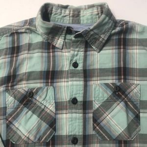 AMERICAN EAGLE Mens XS Green Plaid Oxford Shirt